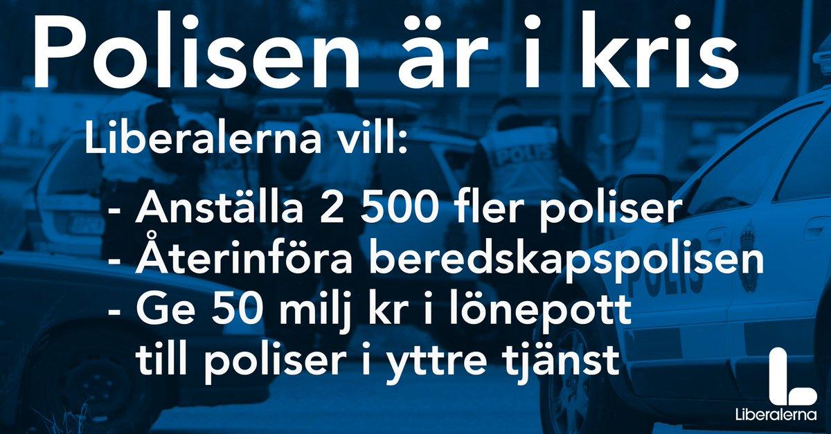 Liberalerna vill ha 2500 fler poliser