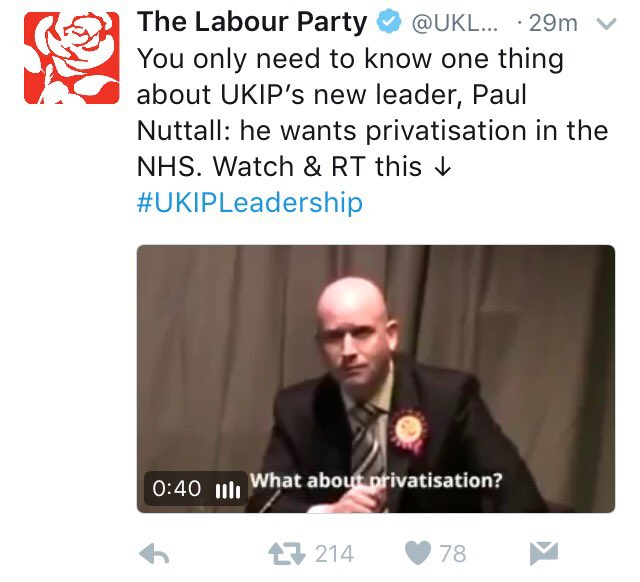 Labour attacking Nuttall on the NHS. The first sign that they don't know how to deal with him. https://t.co/NC4kDQxBvC