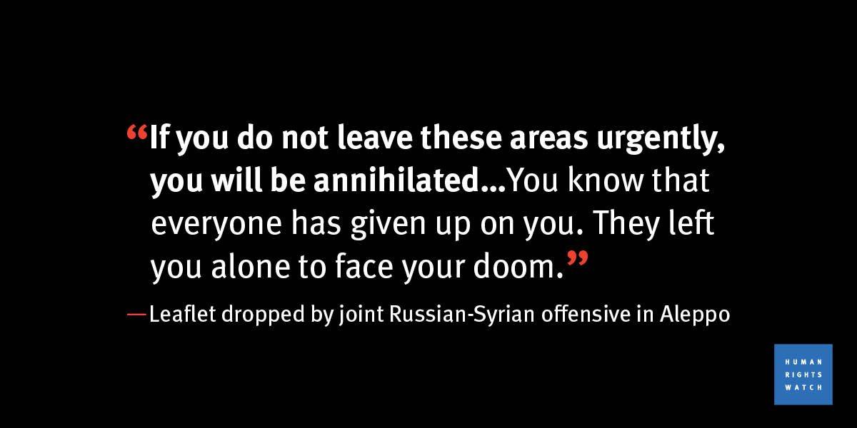 Assad/Putin's message to the 250,000 civilians in #Aleppo, Syria https://t.co/RZW3nPyTo6 https://t.co/L9VwZrDBfa