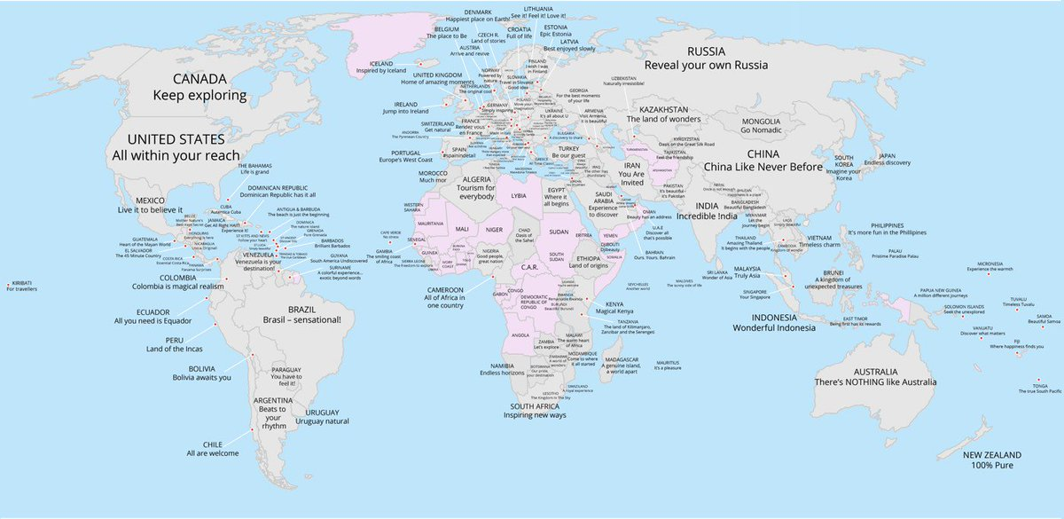Faris on twitter a world map of every countrys tourism slogan faris on twitter a world map of every countrys tourism slogan httpsts1dhlx8jar jkottke so many of them contain the country name lame gumiabroncs Choice Image