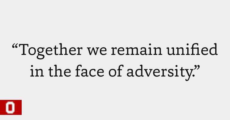 We are, and always will be, #BuckeyeStrong. https://t.co/TIFFz407v2 https://t.co/ZflbgVjNxJ