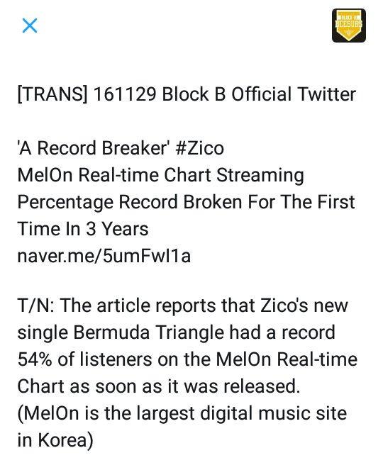 Zico, Dean & Crush broke Melon Streaming Percentage Record
