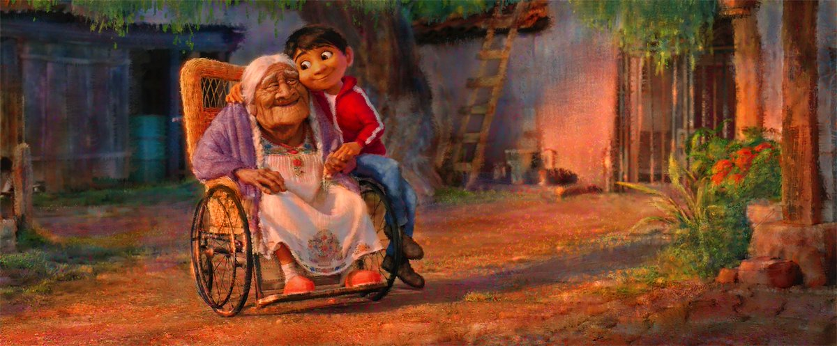 Excited to share this new piece of concept art: Miguel with his great-grandmother, Mama Coco! #PixarCoco https://t.co/zzwczw6bPG