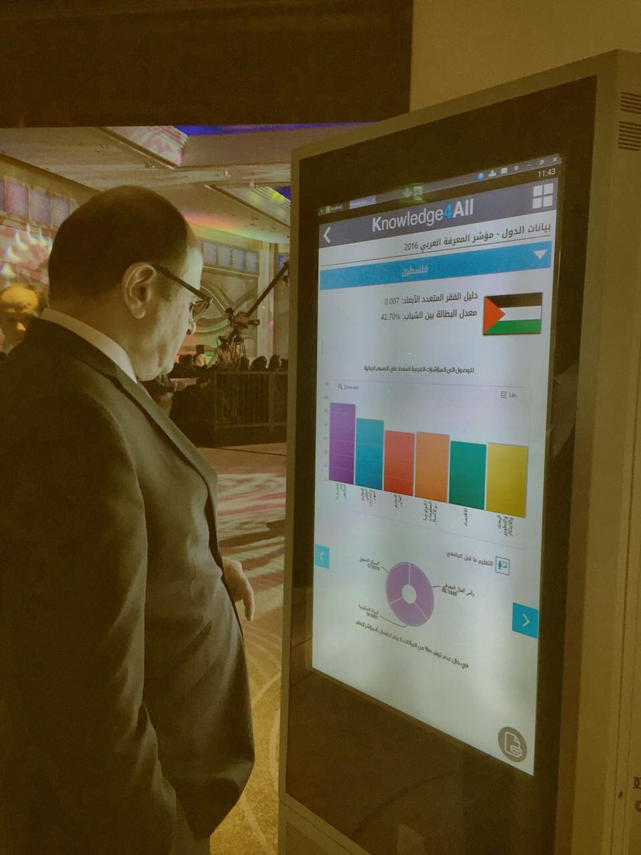 .@KhaledAbdelSha1 checking the @ArabKnowledge #index of #Palestine on the #Knowledge4All app at the #knowledgesummit, #Dubai, 6 Dec 2016<br>http://pic.twitter.com/y9dfcsyAzV
