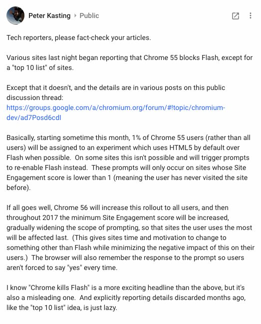 "Chrome 55 is out. It's not quite the ""Flash killer"" many tech blogs say it is. See https://t.co/Ai5lOPKxmu https://t.co/QDmSNl7AVE"