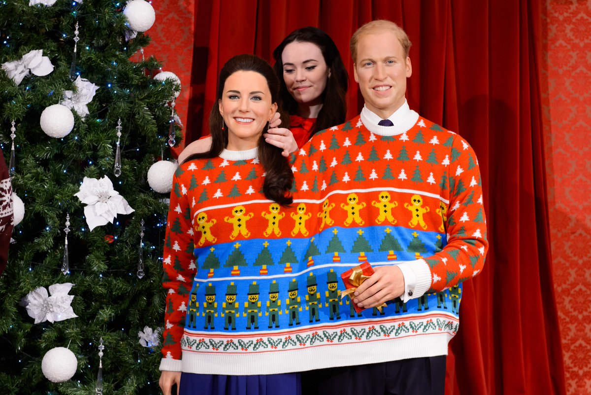 A waxwork Royal Family dons ugly sweaters for Christmas
