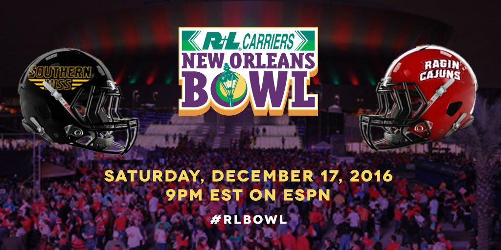 The 2016 #RLBowl will feature @SouthernMissFB out of @Conference_USA and @RaginCajunsFB out of @SunBelt. See you in #NOLA! #CUSAFB #FunBelt https://t.co/5t6wL1Bnag