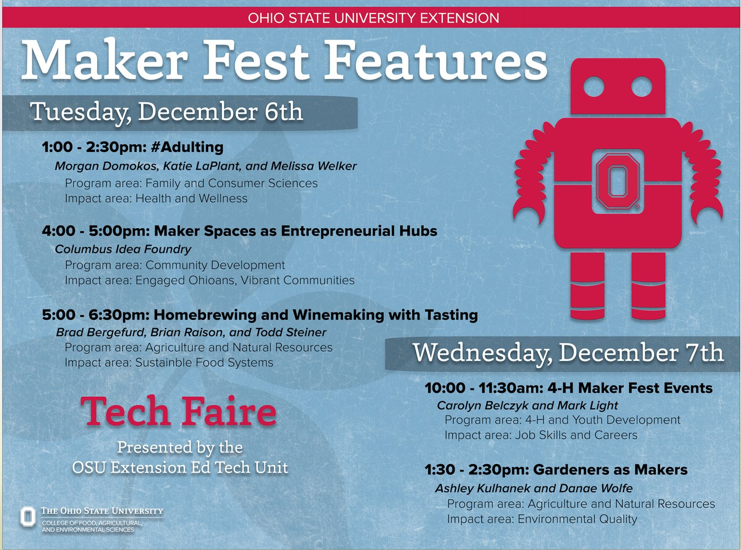 Good morning #osue2016! Stop by the Tech Faire from 11am - 6:30pm to hang with @DanaeMWolfe, @RaisonLocalFood, @ColumbusiF &@LandGrantBeer https://t.co/Yg0EHUHM1e