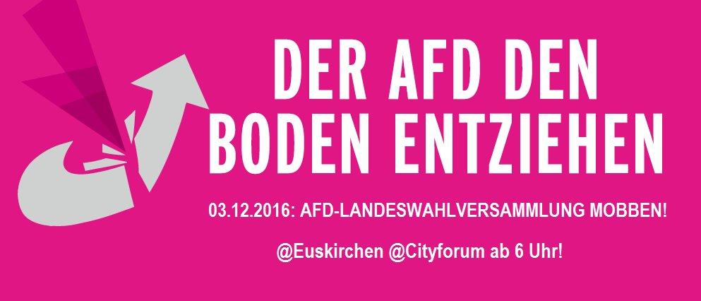 /// DER #AFD DEN BODEN ENTZIEHEN AM 03.12.2016 IN EUSKIRCHEN /// #AFD-LANDESWAHLVERSAMMLUNG MOBBEN! @Euskirchen @Cityforum ab 6 Uhr! ///