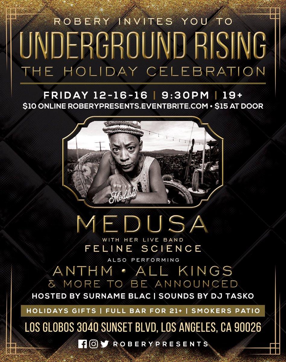 12/16/16 @LegendMedusa at @ClubLosGlobos for @risingconcert (19+). Tickets: https://t.co/ScljcRAfB8 #hiphop https://t.co/MsaPIEHFaK