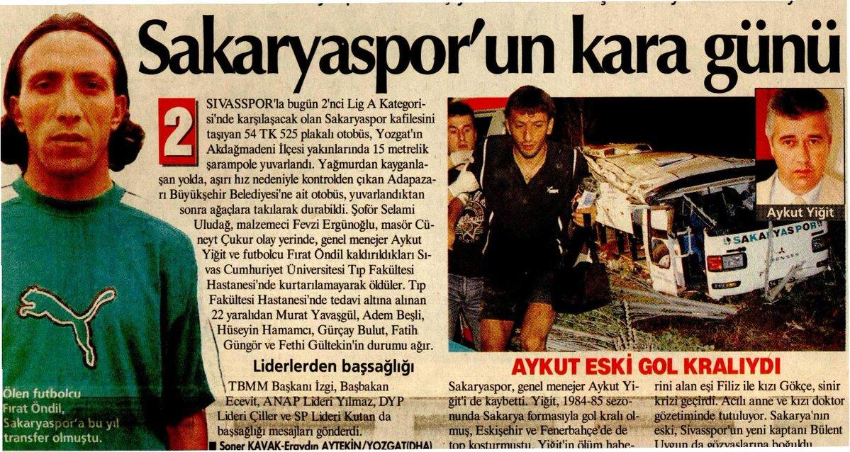 """Murad Çobanoğlu on Twitter: """"7 Eylül 2002 tarihinde @SivassporKulubu ile karşılaşmak için hareket eden @sakaryaspor ekibini taşıyan otobüs, Yozgat yakında kaza yapmıştı.… https://t.co/nLVtTPFBXQ"""""""