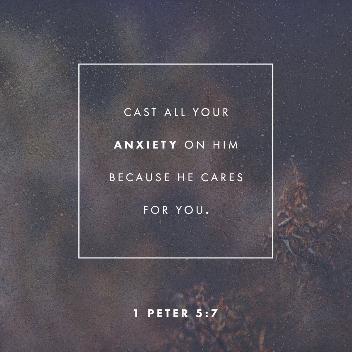 Cast all your anxiety on him because he cares for you. https://t.co/S9bOmDFUsH https://t.co/Emmd6KgH7f