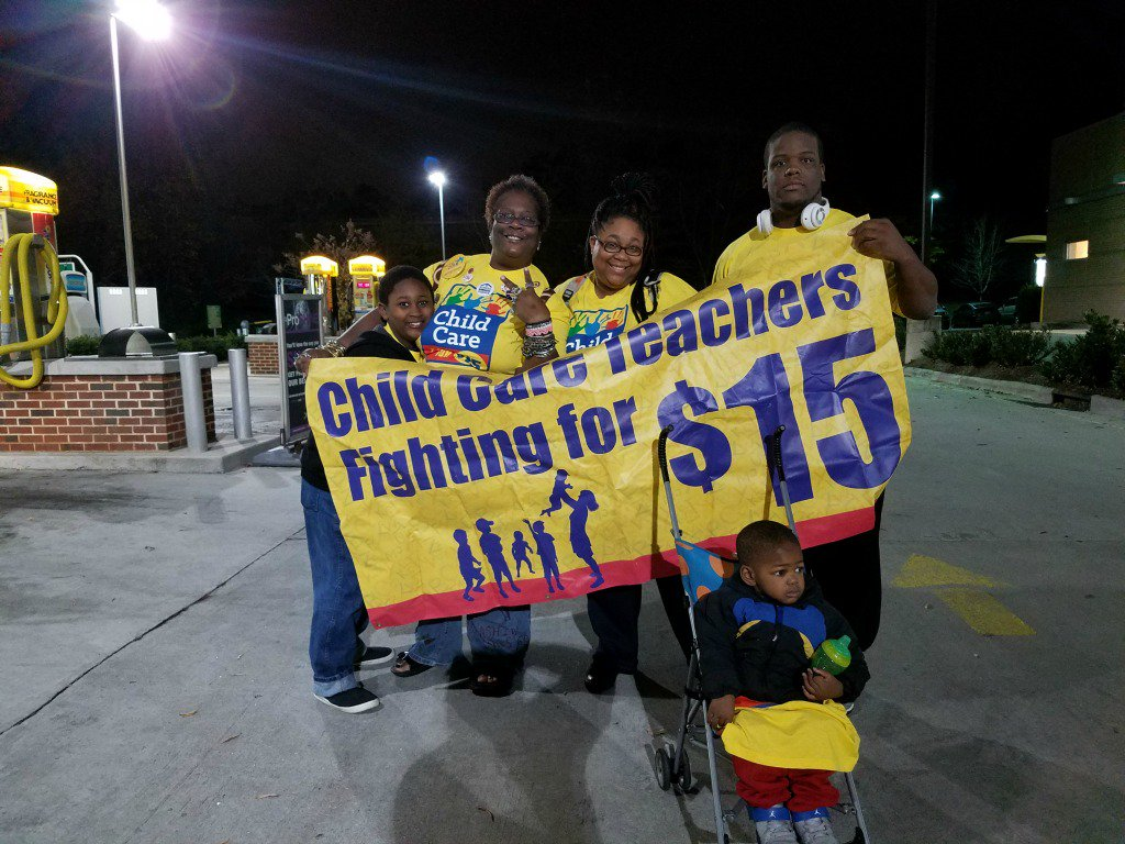 Child care providers & supporters are ready for action in Durham, NC. #FightFor15 #ChildCareForAll https://t.co/oGUVL1WGBy