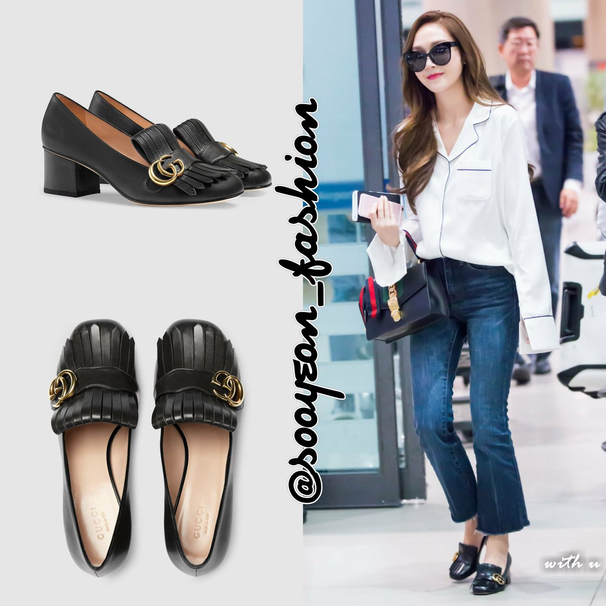 Jsy Fashion On Twitter 160417 Incheon Airport Gucci Leather Mid Heel Pump Black 750 Https T Co Vorobraie4 Jessicajung Sicasairportfashion Https T Co Lxmanyjqnf