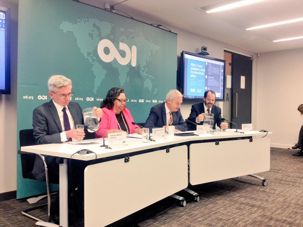 Fascinating discussion chaired by @jonsnowC4 this morning at @odidev on how Trump might influence international development #usglobaldev https://t.co/NkHhTcXdp6