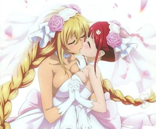 Two anime girls kissing