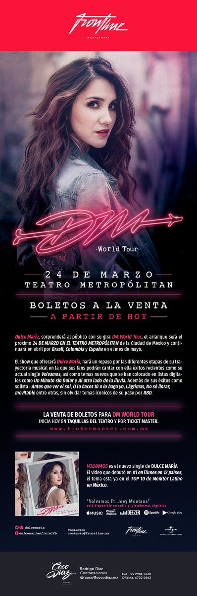 @DulceMaria Con gran éxito arranca DM  WORLD  TOUR https://t.co/SY9mj9FLnU