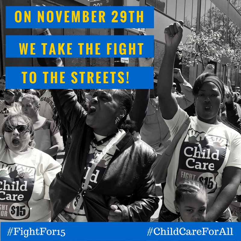 We stand in solidarity w/ fast-food, airport, home care, & higher ed workers in the fight for a better future. #Fightfor15 #ChildCareForAll https://t.co/eowUeS9Ktm