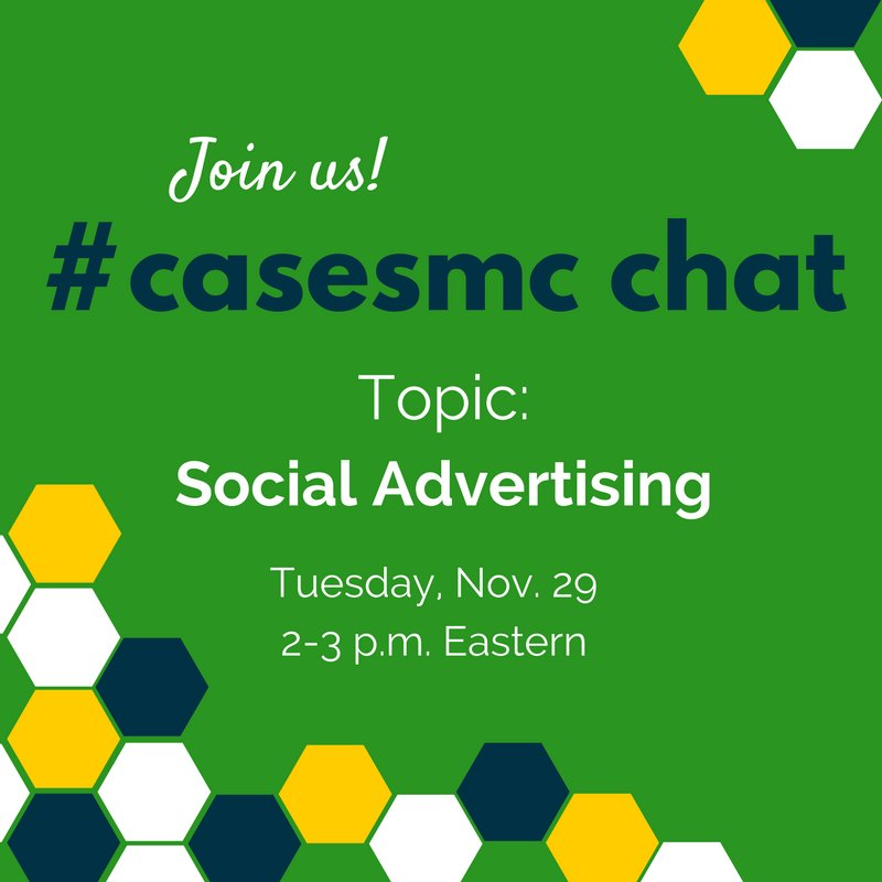 Join us at 2 p.m. to talk social ads with @christengowan! #casesmc #hesm #highered https://t.co/whJ4EyDCO7