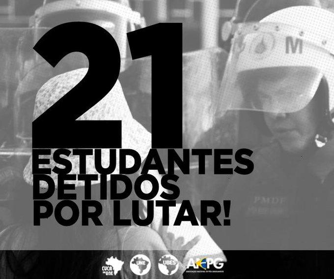 21 estudantes foram detidos hoje em Brasília, arbitrariamente, por estarem protestando contra a PEC 55! #EstudantesContraPEC #OcupaBrasília