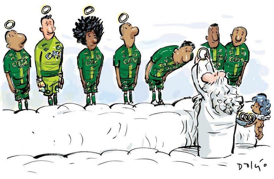 El mejor dibujo que vi hoy. #ForçaChape