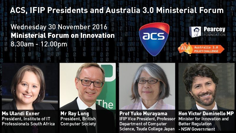 On now Ministerial Forum on #innovation @ACSnewsfeed @ifipnews @Aus3point0 https://t.co/HTk0fqyFNw