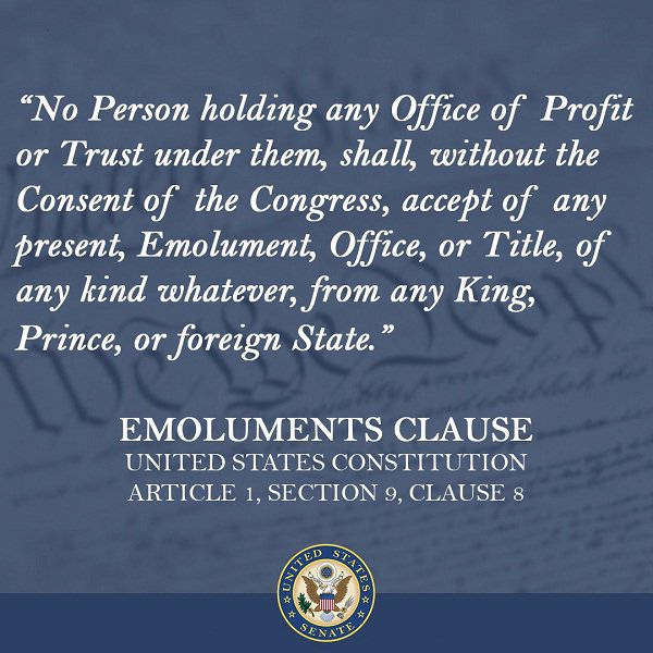 Image result for trump emoluments clause