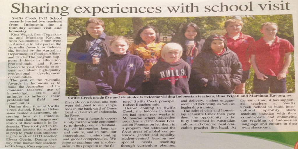Read 'Sharing experiences with school visit' via the Bairnsdale Advertiser | #AustraliaAwards #OzAlum https://t.co/QG2RXzFpnJ