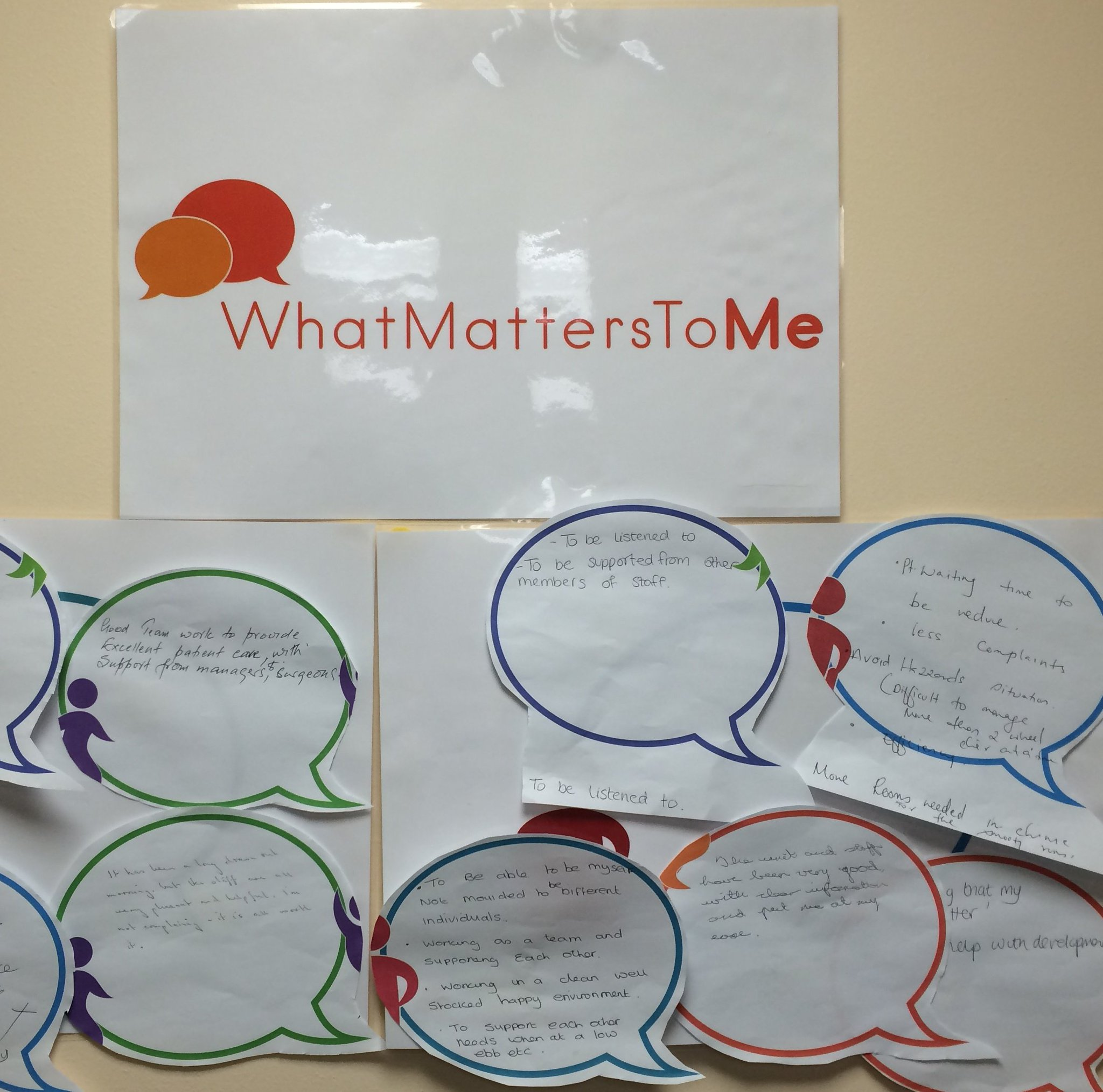 The #WhatMatterstoMe board at Withington Cataract Centre displaying comments, suggestions and thanks from patients and staff. #wmtm https://t.co/30VtRP6i04