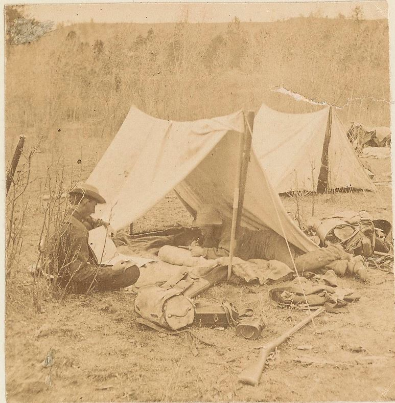 "Holmes and companion roughing it in a ""dog tent"" circa 1874. Learn more about field life with #ManyHatsofHolmes: https://t.co/ALfS1lfmUn https://t.co/pH7XILdbAO"