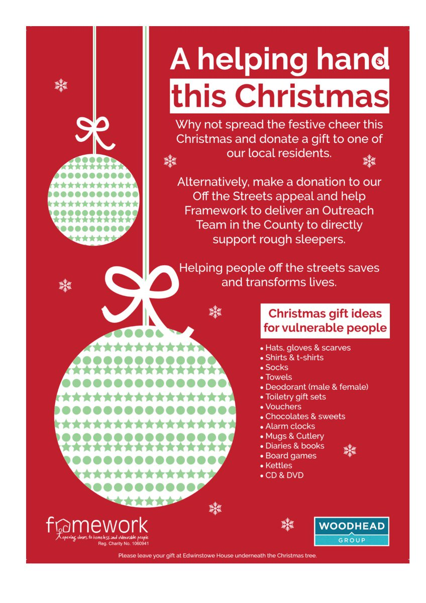 Delighted to be supporting the @Framework_HA Christmas Appeal.  Please leave your Christmas Gifts @EdwinstoweHouse by the 21st December.