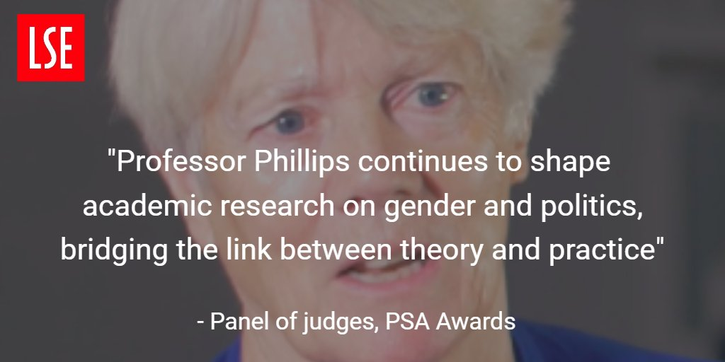Professor Anne Phillips wins @PolStudiesAssoc award for lifetime contribution to political studies https://t.co/JdAD9Oi8MF @LSEGovernment https://t.co/wid9ETSojU