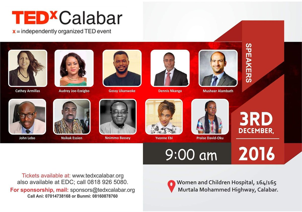 Meet these amazing speakers this weekend in #Calabar at TEDx Calabar. We are in a period of New Beginnings.Sign Up! https://t.co/zE1RZXK43x