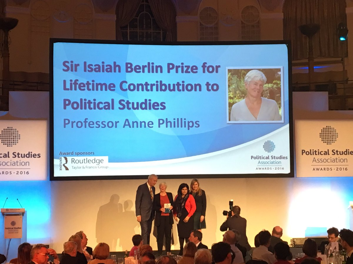 Congrats to Anne Phillips for winning Sir Isiah Berlin Prize for Lifetime Contribution to Pol Studies at #PSAAwards! https://t.co/Euru7sfmId https://t.co/TQJ0BE1V0o