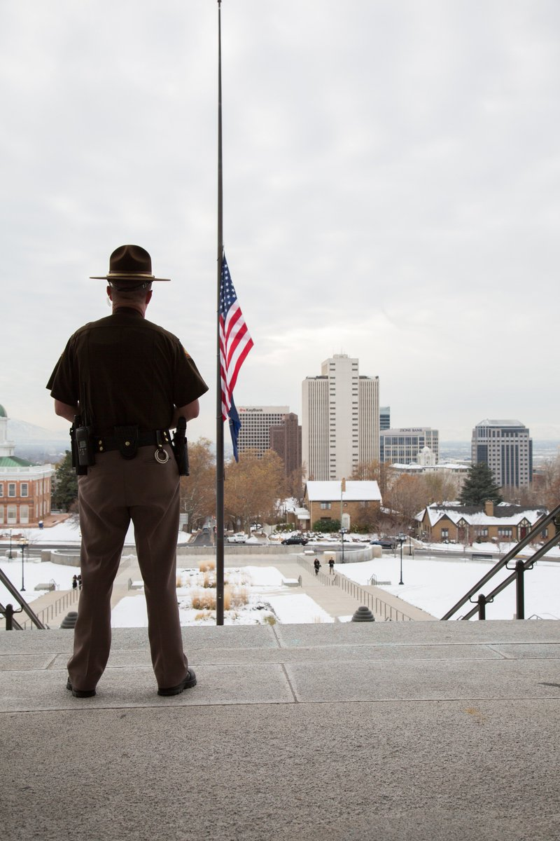 Flags are flying at half-staff today in memory of #TrooperEllsworth. May God be with his loved ones. #utpol https://t.co/VLHxBrIdK1