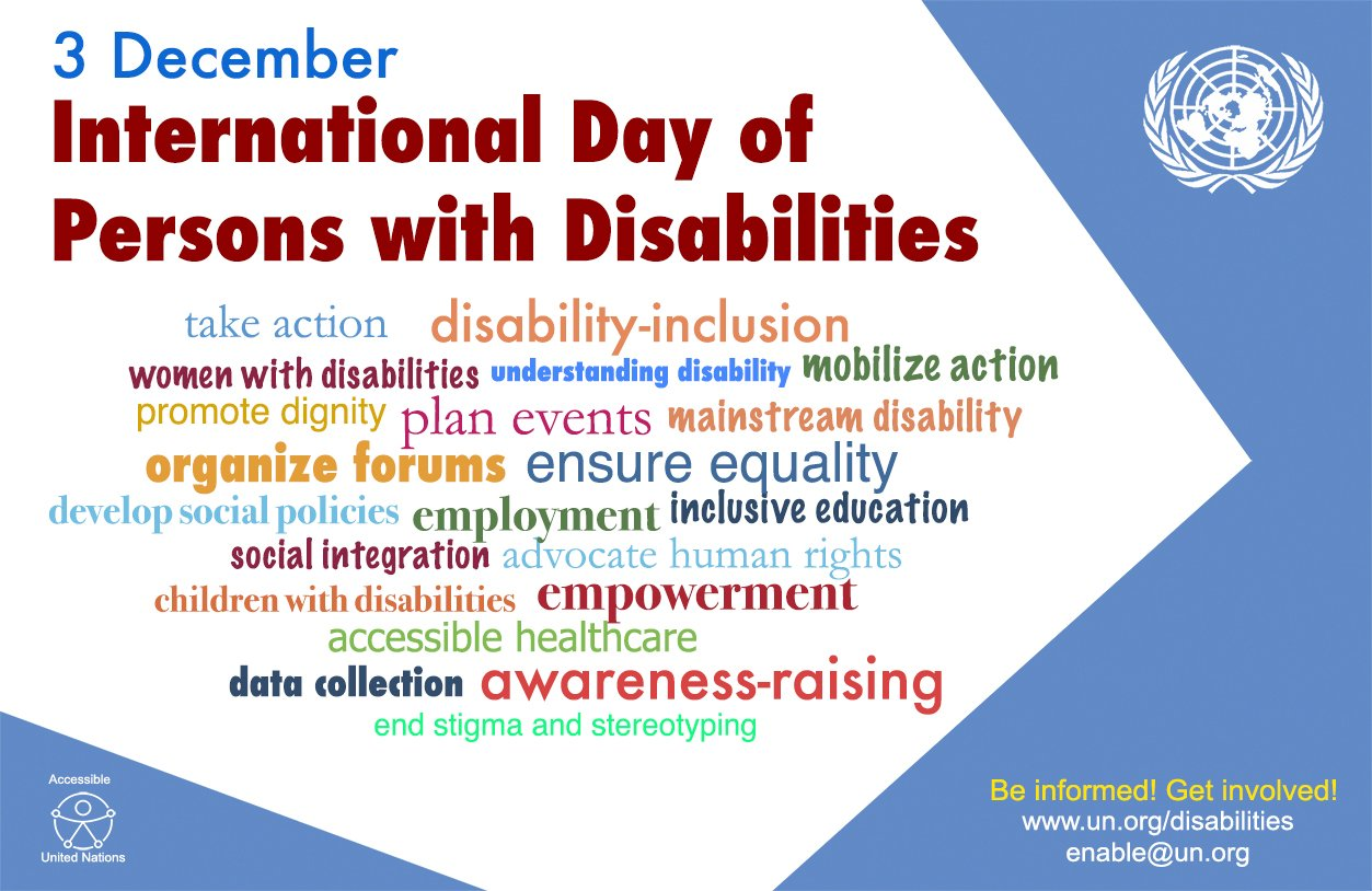 """Today is International Day of Persons with Disabilities! - """"Achieving 17 Goals for the Future We Want"""" https://t.co/m759iBr5CW https://t.co/F5LjqHRrLE"""