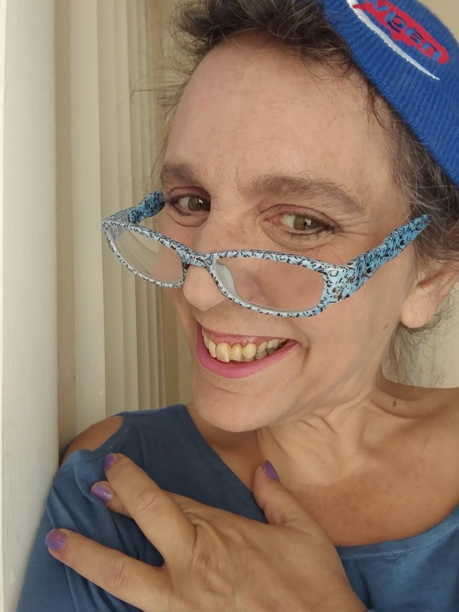 a1c96e6d128 Molly E Holzschlag in her blue beanie for blue beanie day 2016 in  celebration of web