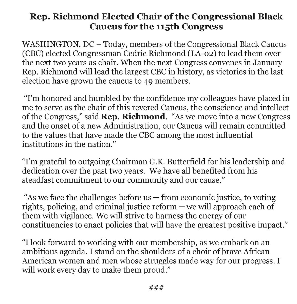 Rep cedric richmond on twitter im honored humbled by the rep cedric richmond on twitter im honored humbled by the confidence my colleagues have placed in me to serve as the chair of this revered caucus spiritdancerdesigns Choice Image