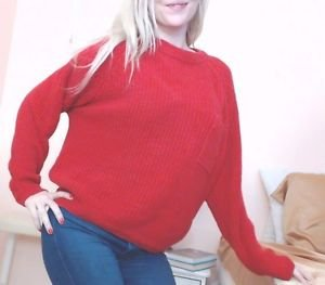 Women's VINTAGE 80s Funky Red Over-sized Crop Sweater With Pocket