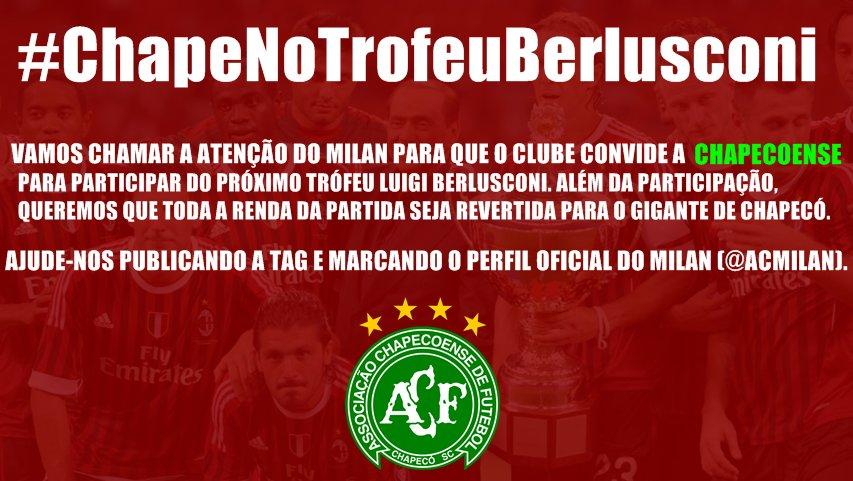 Vamos começar? Todo mundo tweetando #ChapeNoTrofeuBerlusconi e marcando o Twitter do Milan (@acmilan) e o (@MilanTV).