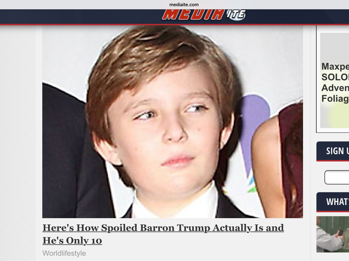 Mediaite should take this down - Barron Trump, like all Presidents' kids, is off limits.  He is a child. This is mean. @realDonaldTrump