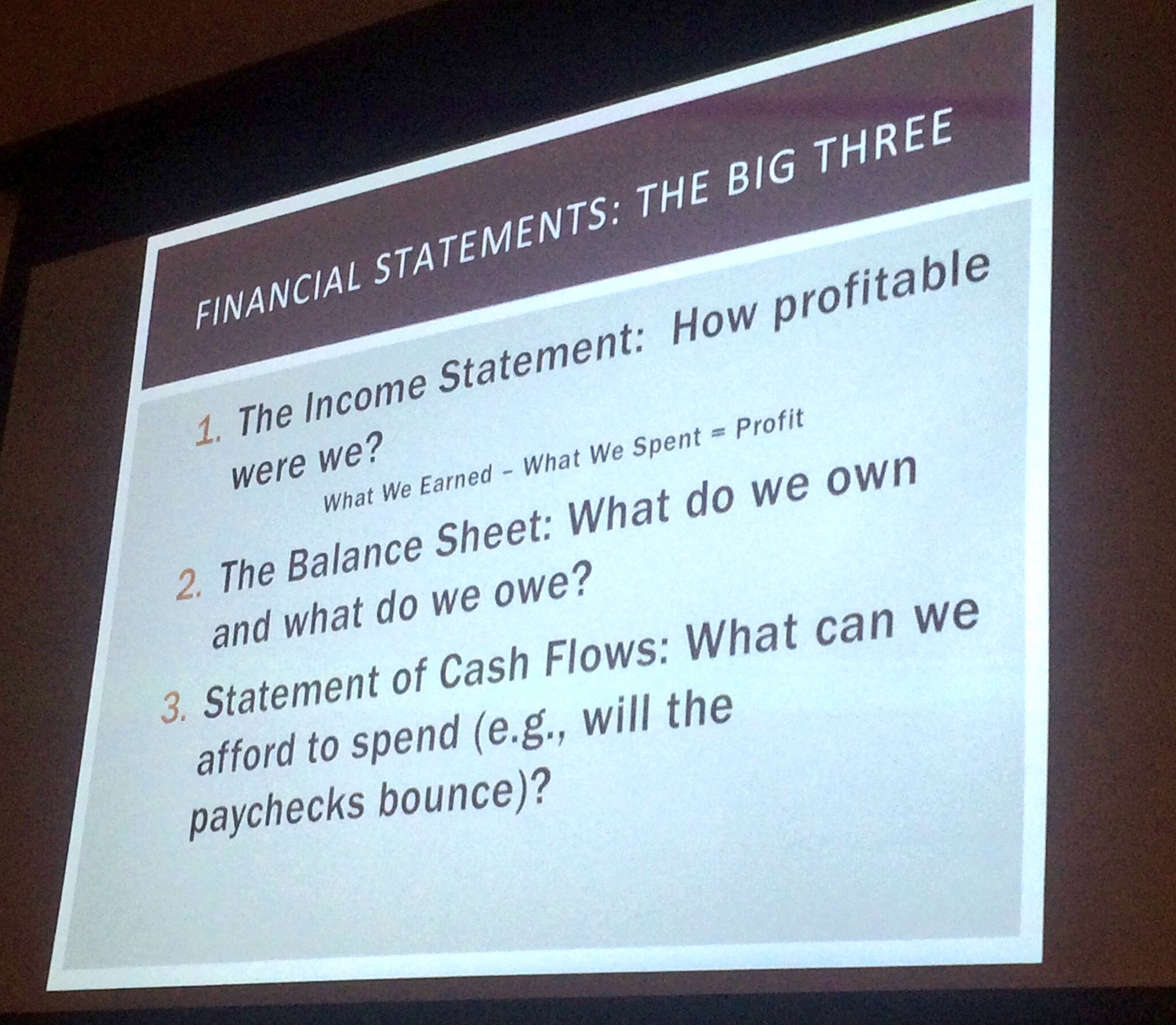 The Big Three financial statements: income statement, balance sheet, statement of cash flows. -Claudia McCowan #MoneyMatters https://t.co/k0zNSY8pQC