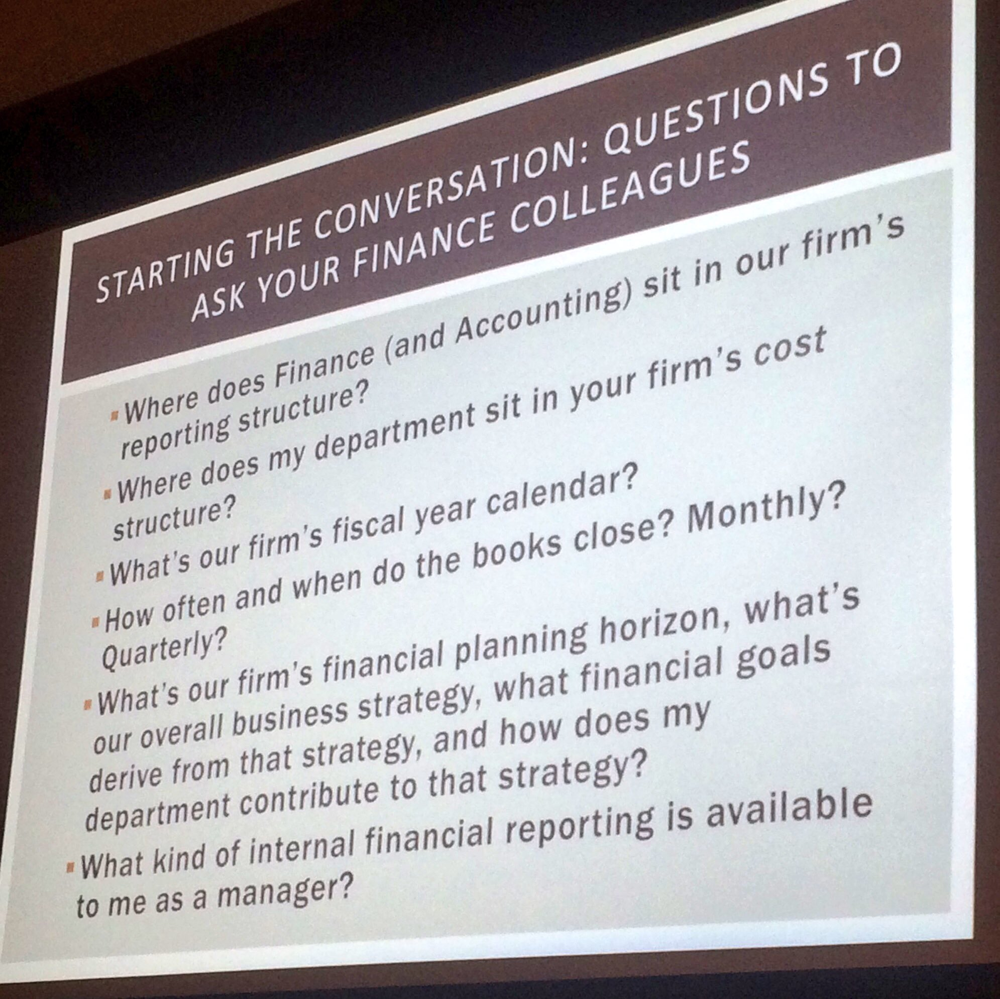 If you're in-house, here are the questions you should ask your finance colleagues. -Claudia McCowan #MoneyMatters https://t.co/Lh8bOtVykq