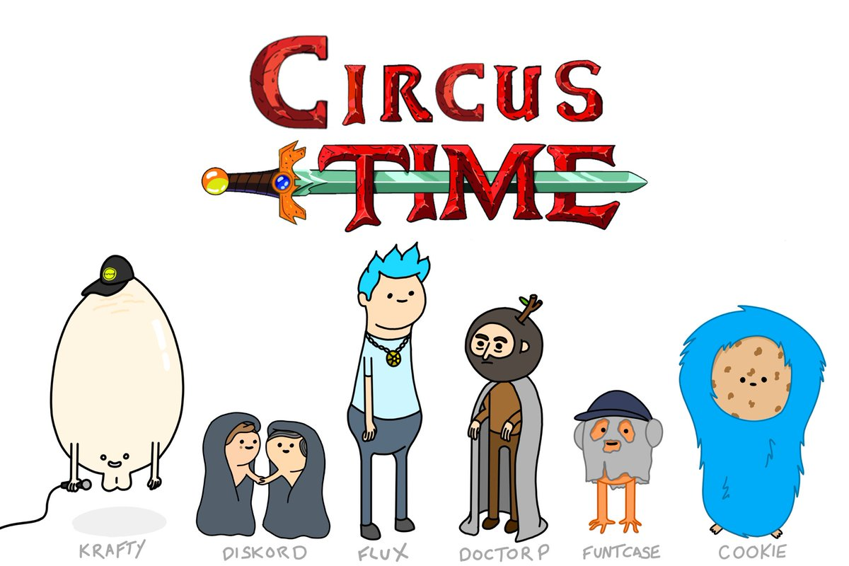 I drew the whole circus crew as adventure time characters https://t.co/A1p7U7v5VE