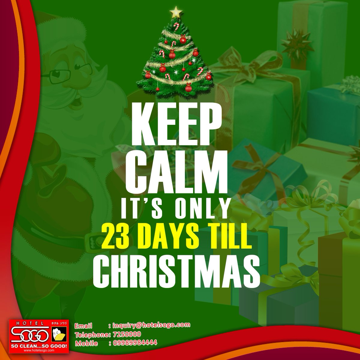 hotel sogo official on twitter how many days until christmas 2016 make hotel sogo your home this christmas season we are open to accommodate you 247 - How Many Days Till Christmas Eve
