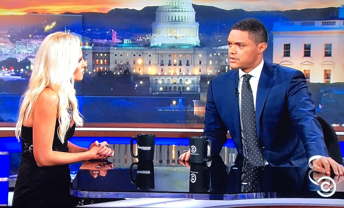 "Tomi Lahren: ""I don't see color."" Trevor Noah: ""So what do you do at a traffic light?""  #TheDailyShow https://t.co/7qhl5A8dlt"