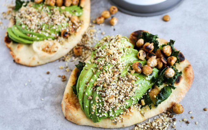 Naan Avocado Toast With Dukkah and Pan-Fried Chickpeas []