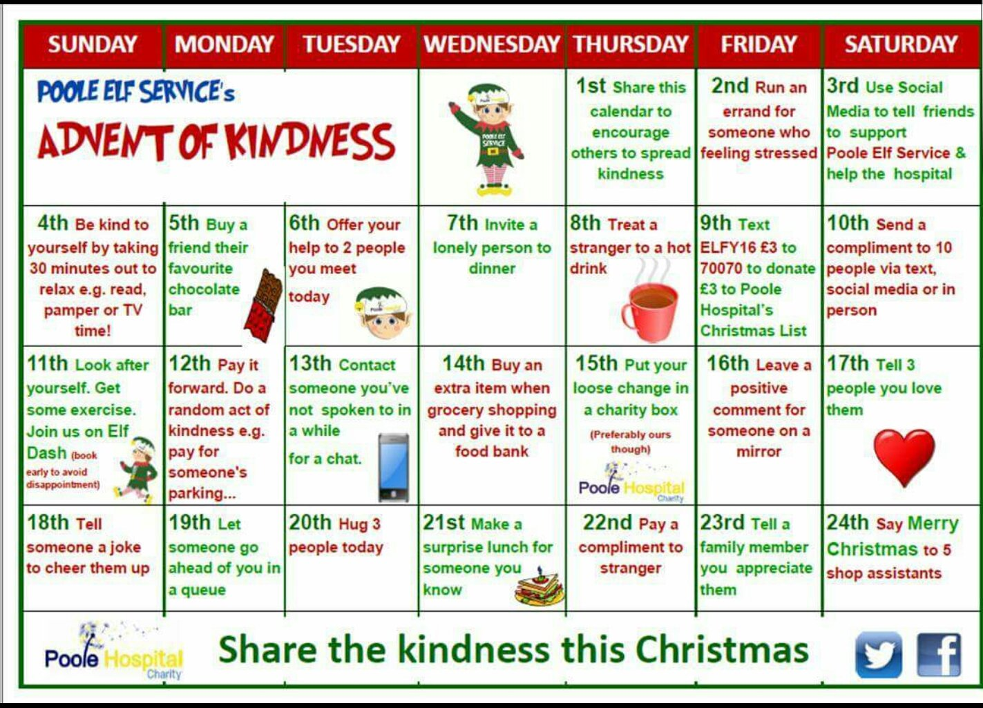 Spread some kindness just like our @Poole_Hospital team do. Advent of kindness.  #AdventCalendar  #PooleElfService #Dorset #poole https://t.co/6jmk9cPlq1