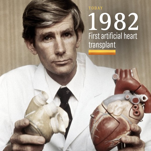 Image result for first artificial heart transplant 1982