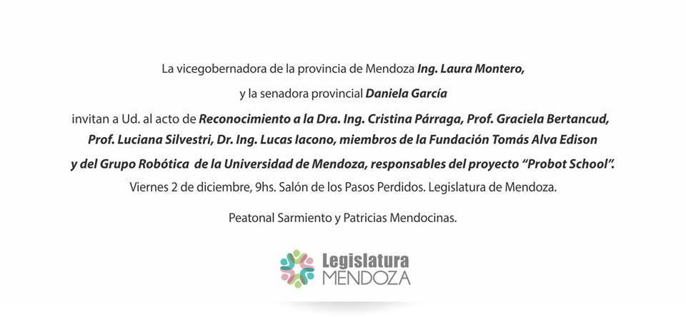 #Mañana importante distinción a @cparraga y Lucas Iacono del GRUM de @UdeMendoza por @probotschool cc @lauramonteromza https://t.co/LdrZn6aKir